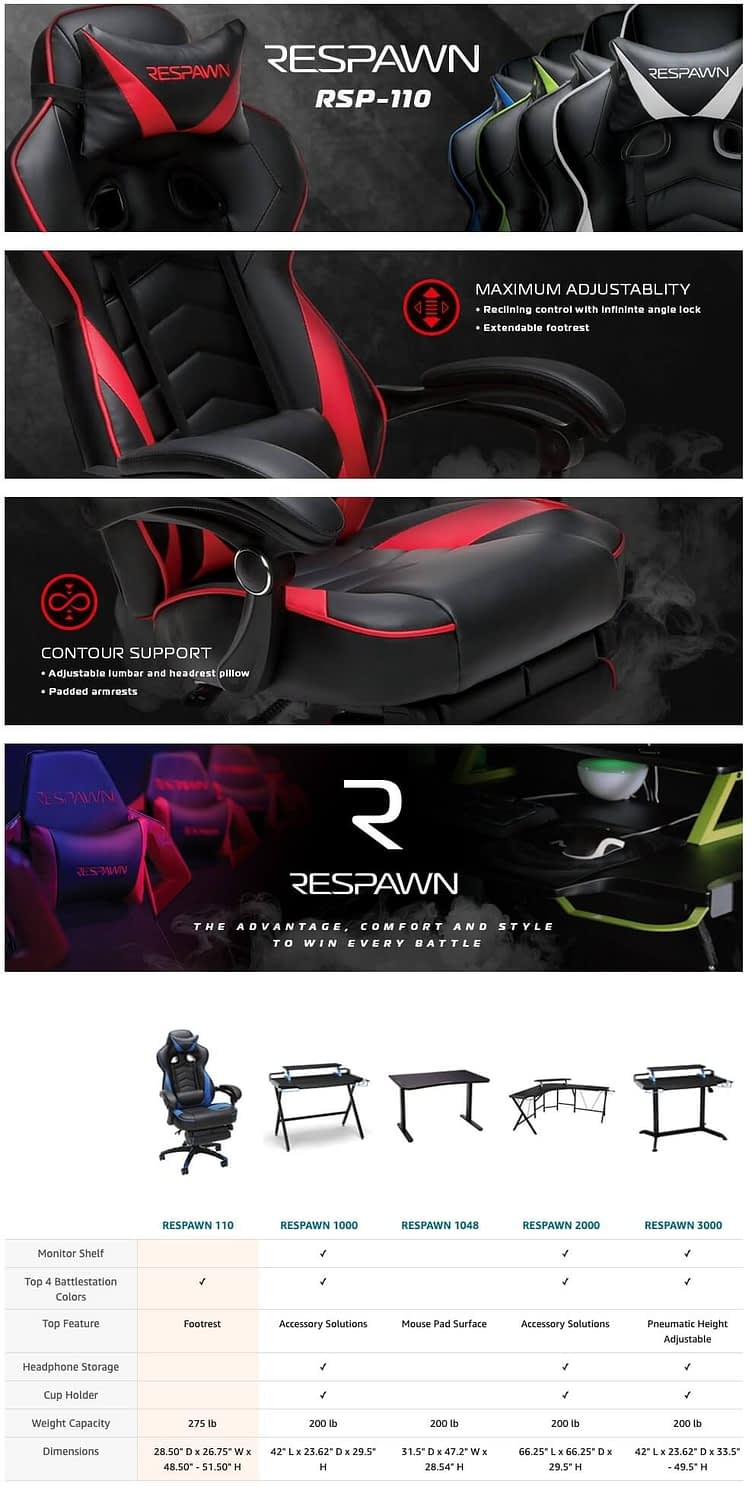 RESPAWN RSP-110 Racing Style Gaming, Reclining Ergonomic Chair with Footrest, Blue