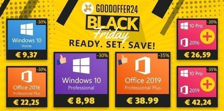 For Black Friday, GoodOffer24 offers Windows 10 Pro